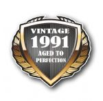 1991 Year Dated Vintage Shield Retro Vinyl Car Motorcycle Cafe Racer Helmet Car Sticker 100x90mm